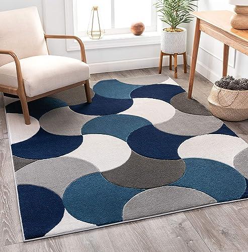 Well Woven Good Vibes Helena Blue Modern Geometric Shapes 7 10 x 10 6 3D Texture Area Rug