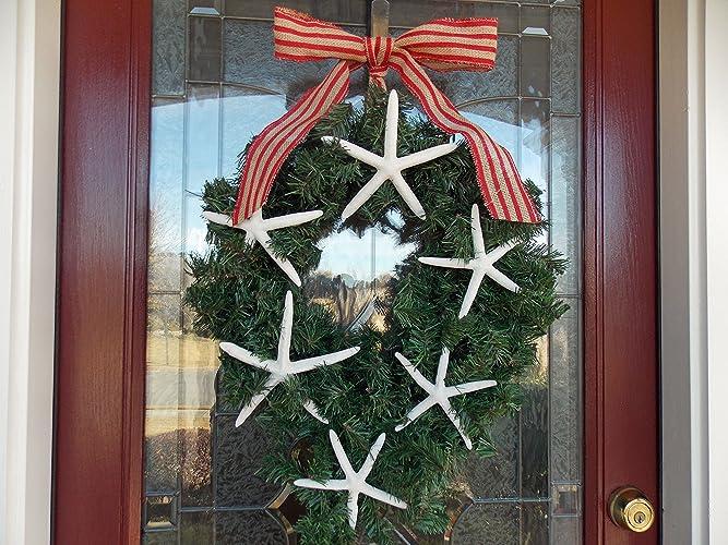 christmas wreath with starfish starfish christmas decor nautical beach christmas wreath beach - Beach Christmas Wreath
