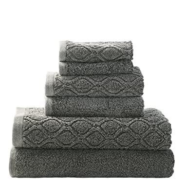 Superior 100% Cotton Denim Wash 6-Piece Towel Set, Solid and Geometric Diamond Jacquard Terry, Thick, Plush and Highly Absorbent, 2 Bath Towels, 2 Hand Towels, 2 Wash Cloths - Grey