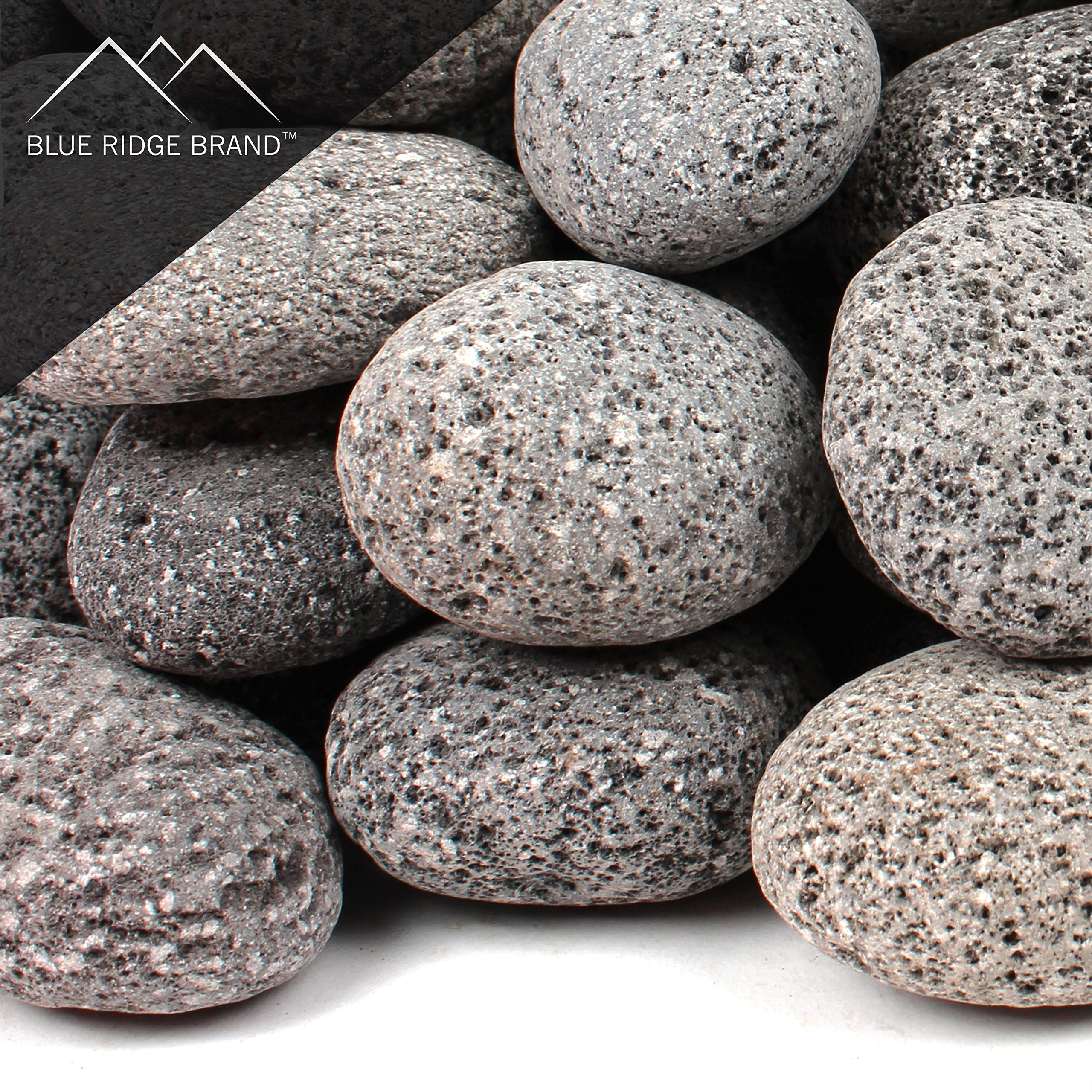 Blue Ridge Brand trade; Lava Rock - 25-Pound Tumbled Lava Stones for Fire Pit - 2'' Black/Gray Lava Pebbles - Fire Glass Substitute - Landscaping Rocks
