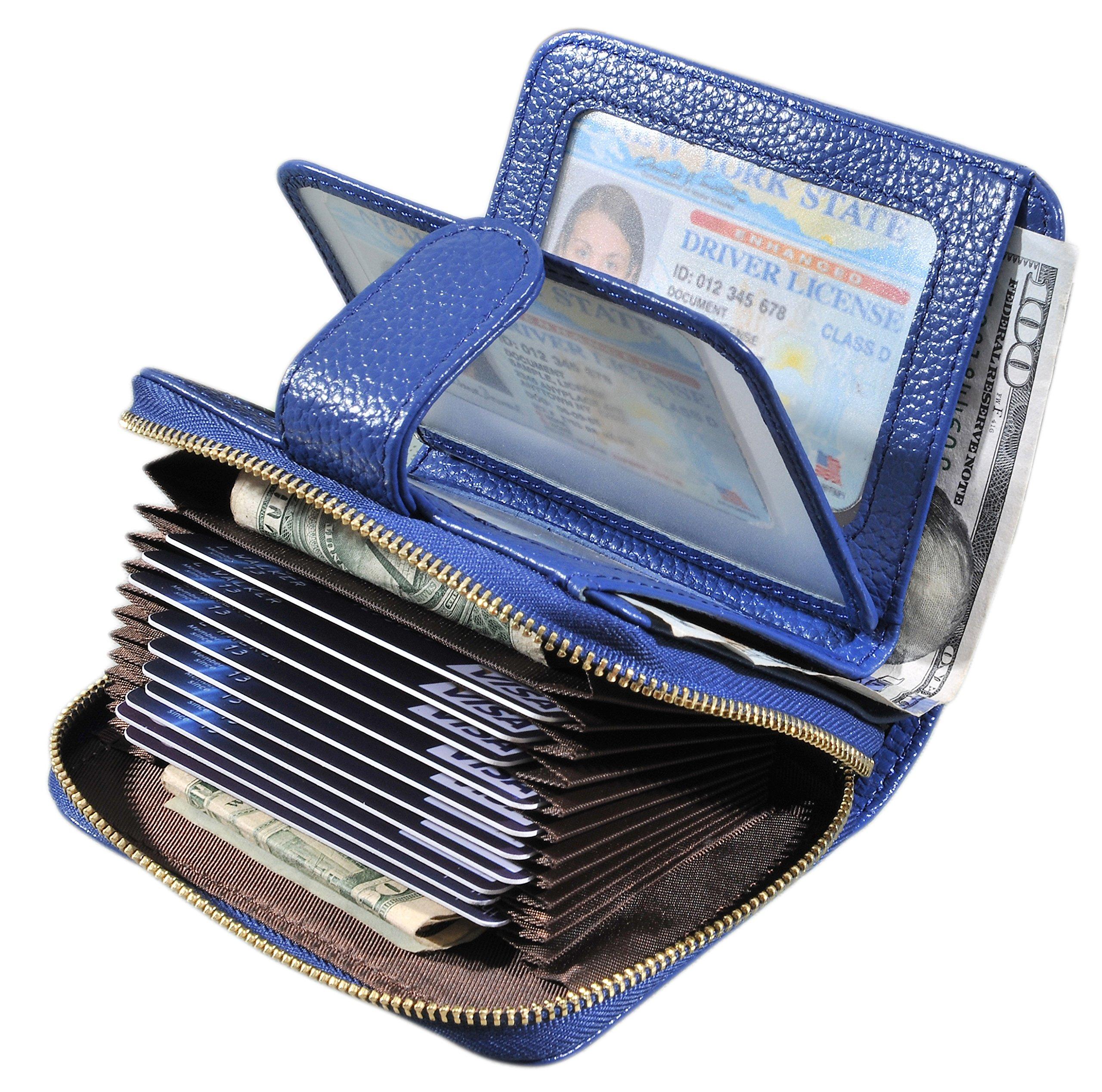 Beurlike Women's RFID Credit Card Holder Organizer Case Leather Security Wallet (Blue)
