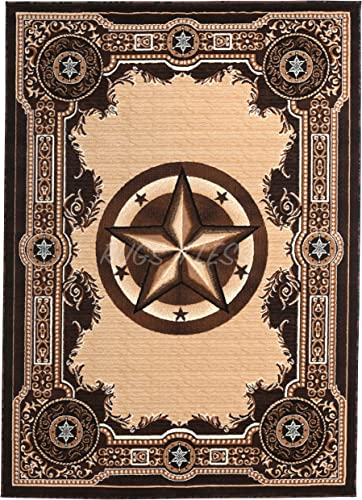 Rugs 4 Less Collection Texas Lone Star State Novelty Area Rug Chocolate/Brown 723 8'X10'