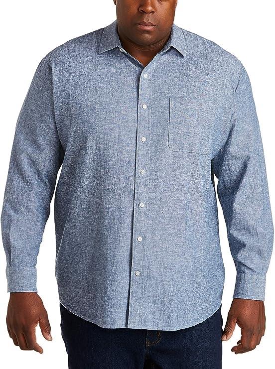 Essentials Men/'s Big /& Tall Long-Sleeve Linen Cotton Size 3.0 White