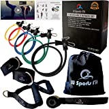 5 Exercise Resistance Bands Set-High Premium Natural Latex Tubes,Non Slip-12PCS with Handles/Training Fitness Video/Adjustable Ankle Straps/Mini Bag/Strength Full Body/Leg/Butt/Arm/Workout At Home,Gym Kit/Best For Men,Women,Kids,Teens,Seniors Stretch