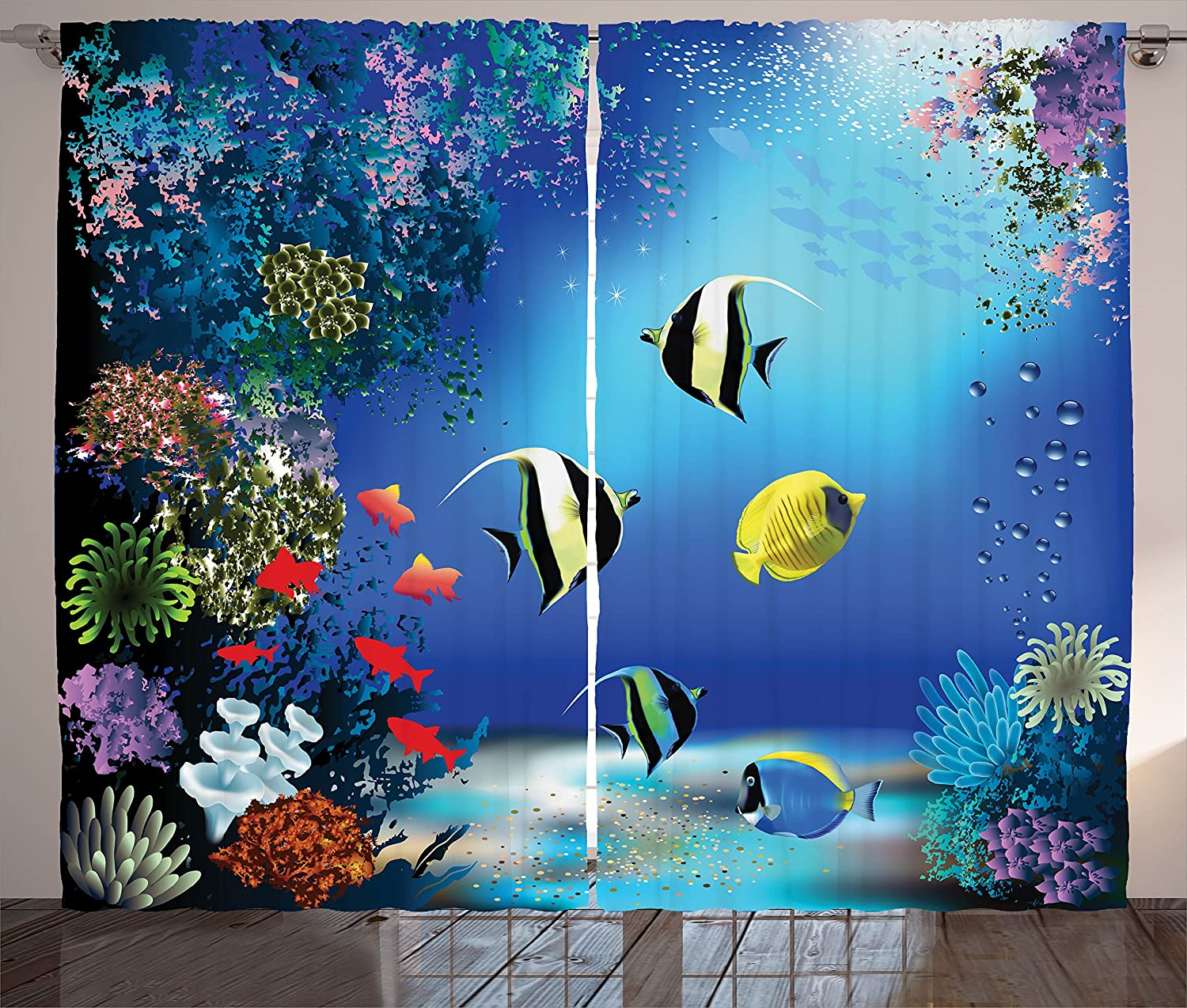 Ambesonne Underwater Curtains, Tropical Undersea with Colorful Fishes Swimming in The Ocean Coral Reefs Artsy Image, Living Room Bedroom Window Drapes 2 Panel Set, 108 W X 90 L Inches, Blue