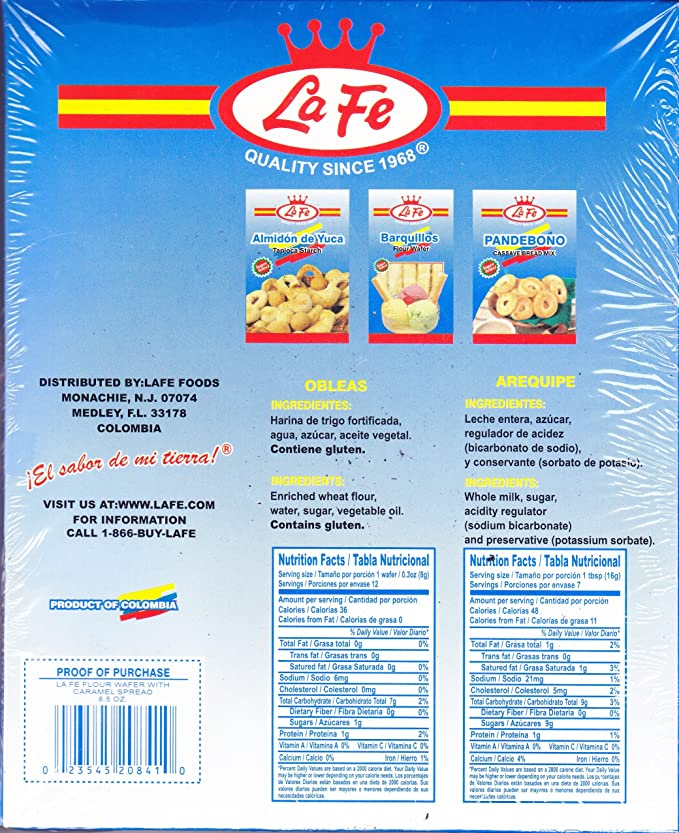 Amazon.com: LA FE OBLEAS / FLOUR WAFERS WITH AREQUIPE 7.7 OZ: Everything Else
