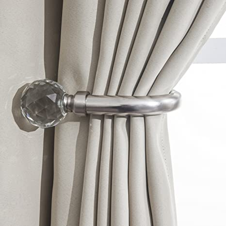 Home Harmony/® Crystal Ball Finial Telescopic Extendable Curtain Pole set In Black or Silver and Matching Holdbacks Available Silver, Pair Of Holdbacks