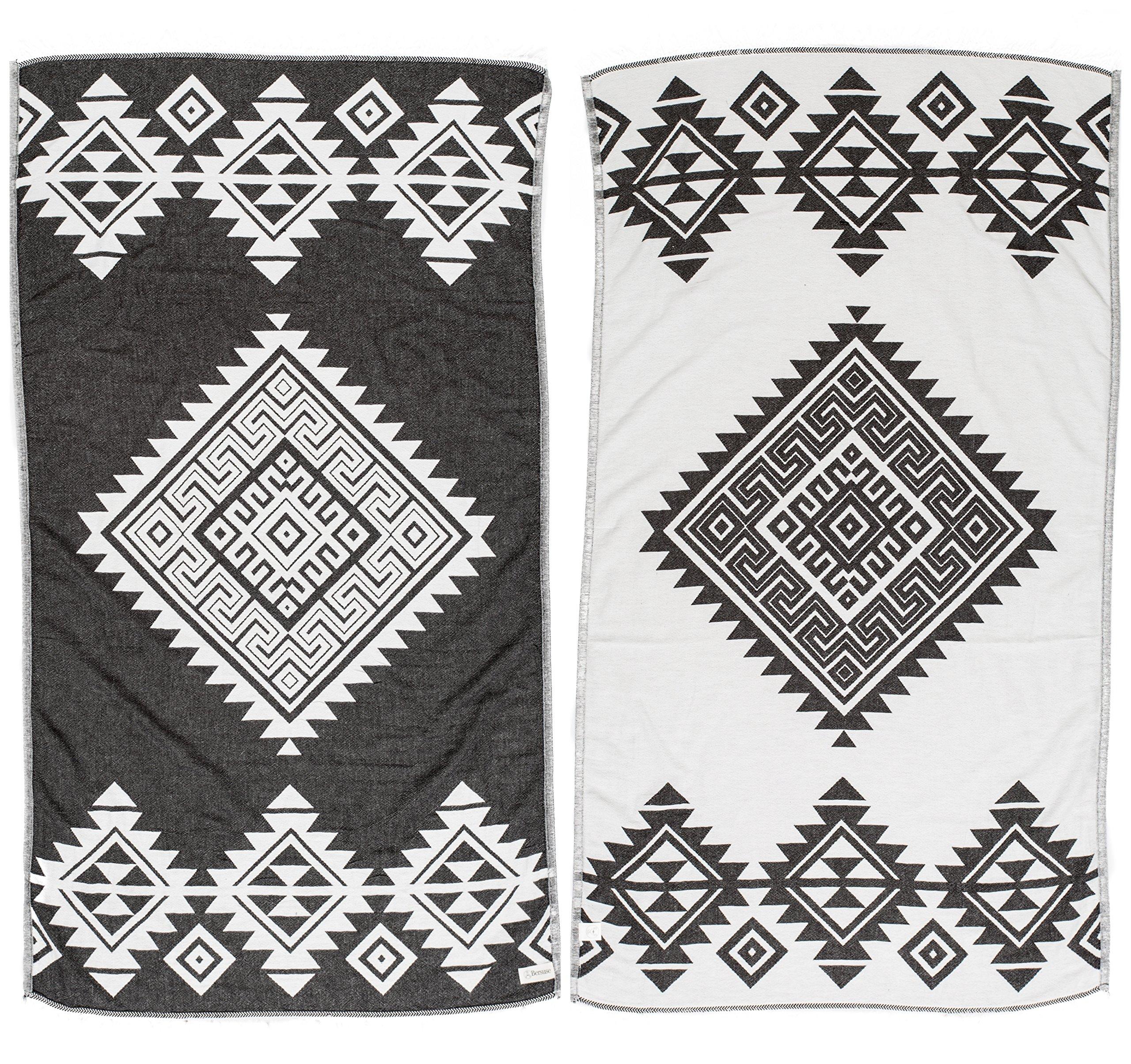 Bersuse 100% Cotton - Yucatan Turkish Towel - Bath Beach Fouta Peshtemal - Aztec Navajo Tribal Bohemian - Dual-Layer Handloom Pestemal - 39X71 Inches, Black (Set of 6)