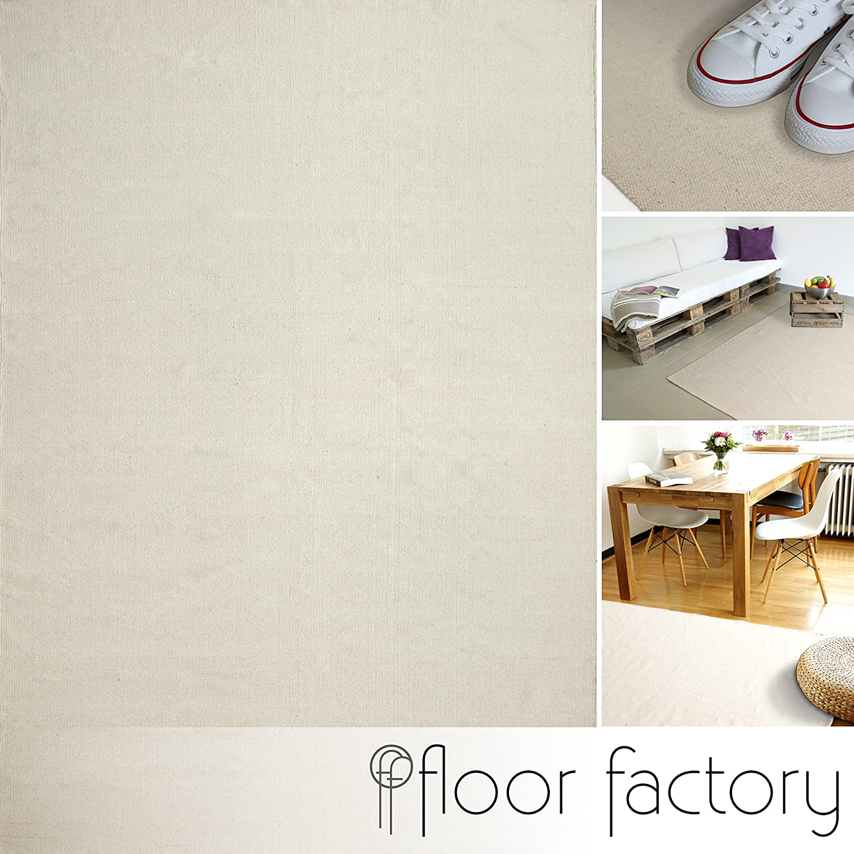 Moderner Baumwoll Teppich Living beige 160x230cm - waschbarer Webteppich aus 100% Baumwolle
