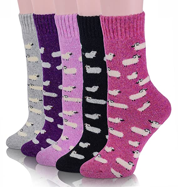326f1ab3cee8c Womens Wool Socks Thick Heavy Thermal Winter Warm Fuzzy Cute Crew Socks For Cold  Weather 5