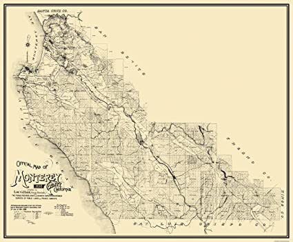 Monterey County California Map.Amazon Com Monterey County California Ca Map By W B Walkup 1898