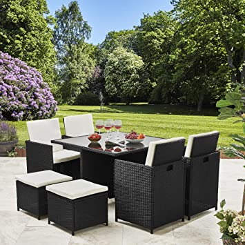 Amazing Rattan Cube Garden Furniture Set 8 Seater Outdoor Wicker 9Pcs Black Home Interior And Landscaping Synyenasavecom