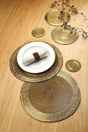 Gilde Handwerk Set De Table Perles En Verre 35 Cm Dore