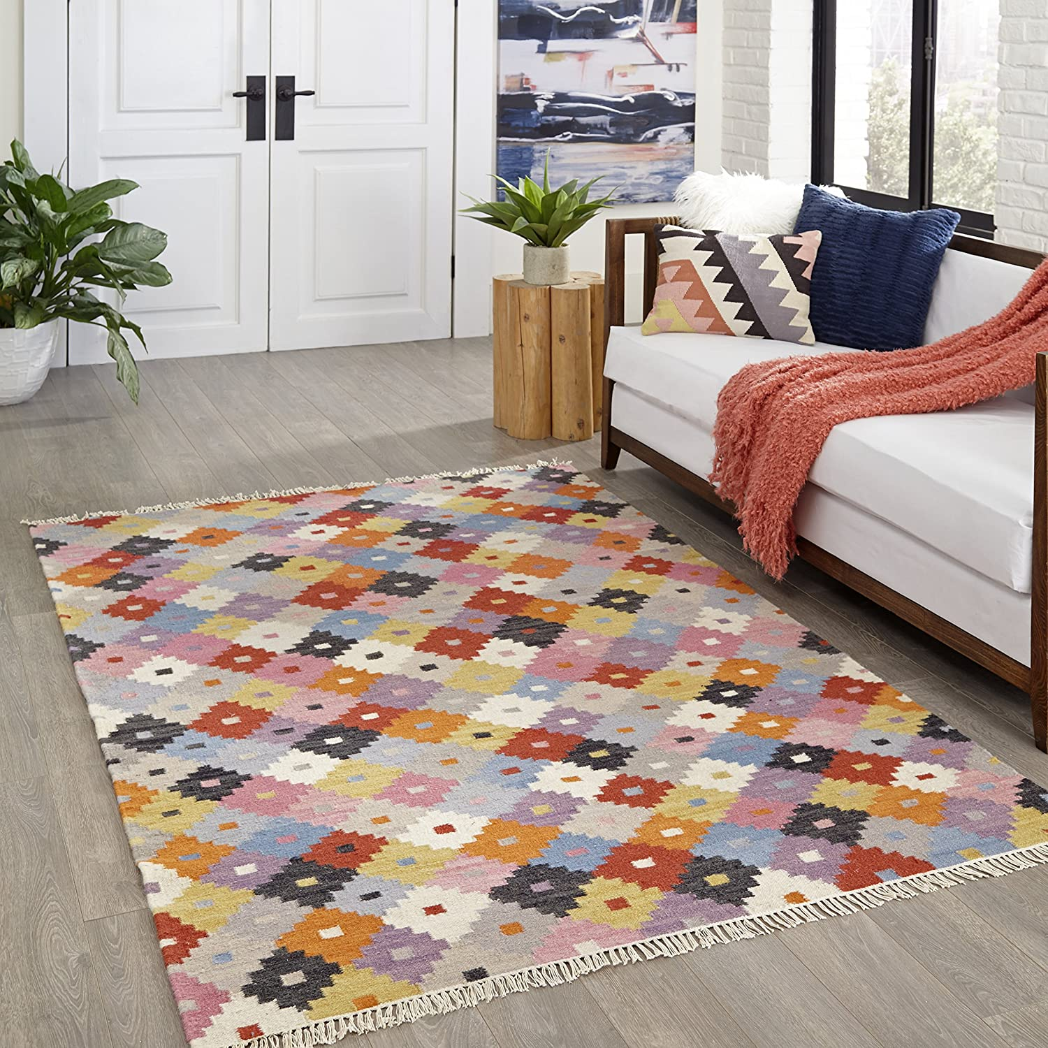100/% Wool Hand Woven Transitional Area Rug Multicolor 23 x 8 Runner Momeni Rugs Caravan Collection