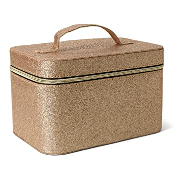 8275624228dd Tri-Coastal Design Cosmetic Train Case for Women and Girls (Gold Sparkle)