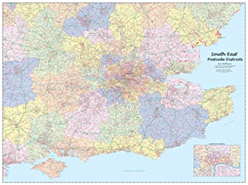 Map Of East Uk.South East England Postcode Districts Wall Map