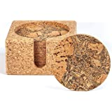 Natural Cork Coasters for Drinks – 10 Absorbent Drink Coasters with Matching Cork Holder That Doubles as a Bottle…