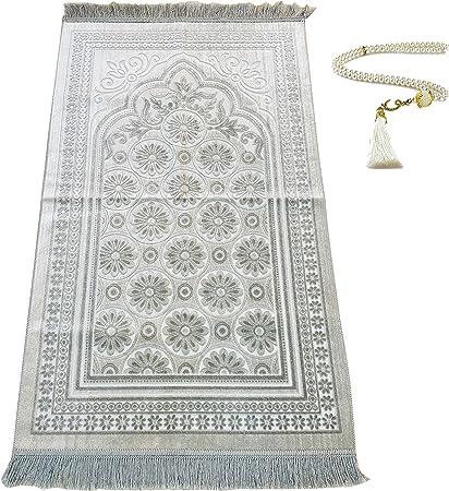 Silvery Soft Muslim Prayer Rug Men Women, Thick Islamic Praying Mat, Turkish Prayer Carpet, Islam Travel Portable Mat Ramadan Rug Muslim Beads Janamaz Sajda Salat Seccade Namaz Pray Silver