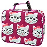 """Insulated Durable Lunch Box Sleeve - Reusable Lunch Bag - Securely Cover Your Bento Box, Works with Bentology Bento Box, Bentgo, Kinsho, Yumbox (8""""x10""""x3"""") - Kitty"""