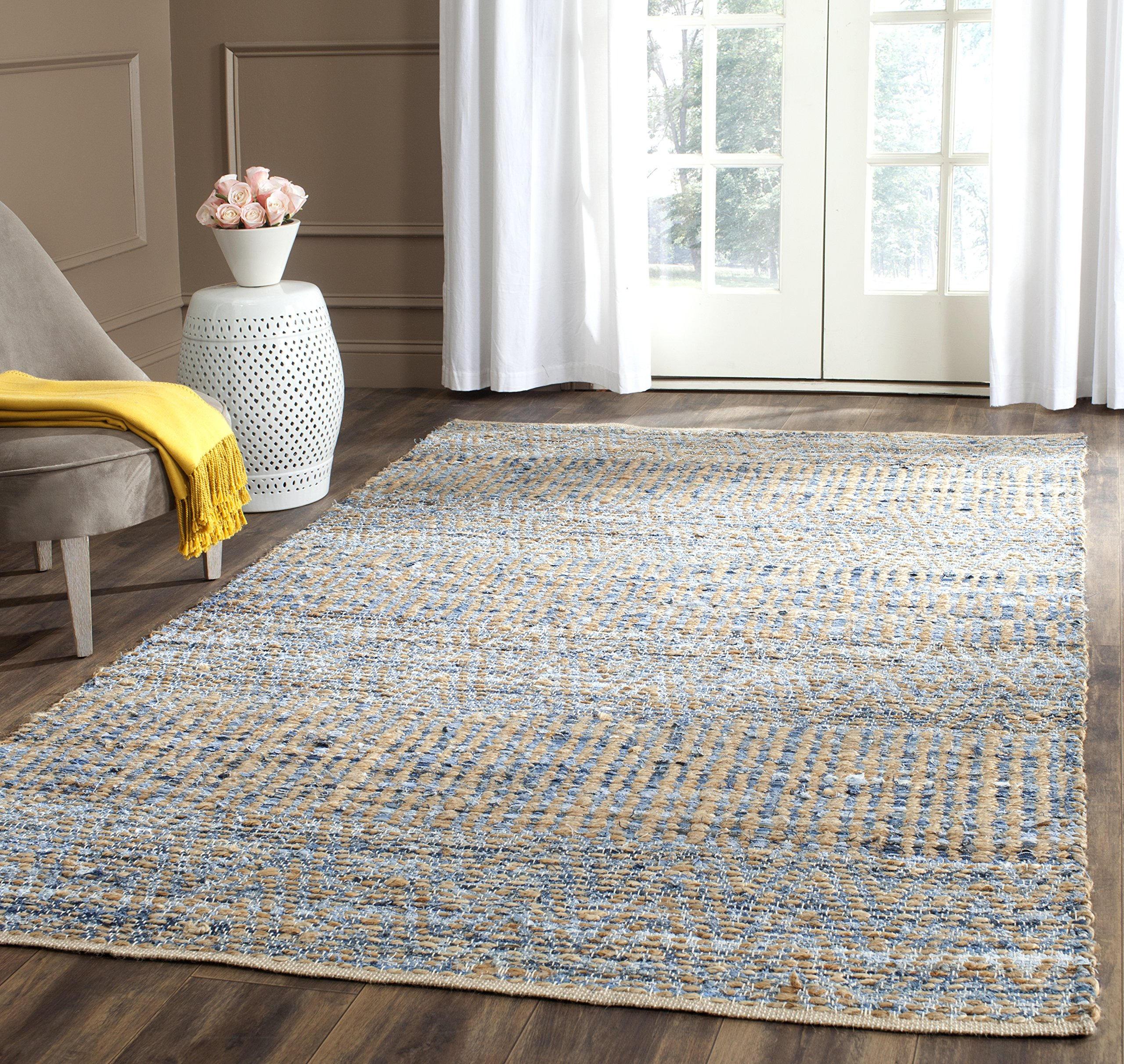 Safavieh Cape Cod Collection CAP353A Hand Woven Flatweave Natural and Blue Jute Area Rug (5' x 8') by Safavieh