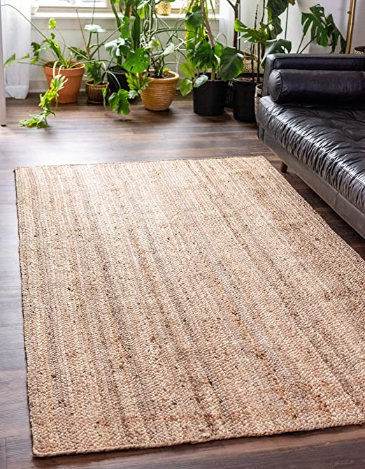 Unique Loom Braided Jute Collection Hand Woven Natural Fibers Natural Runner Rug 3 x 6