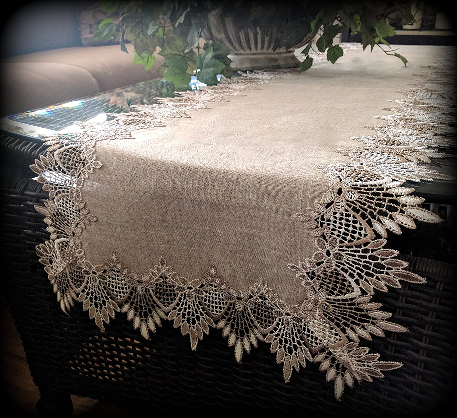 European Lace Neutral Earth Tones Doily Table Runner