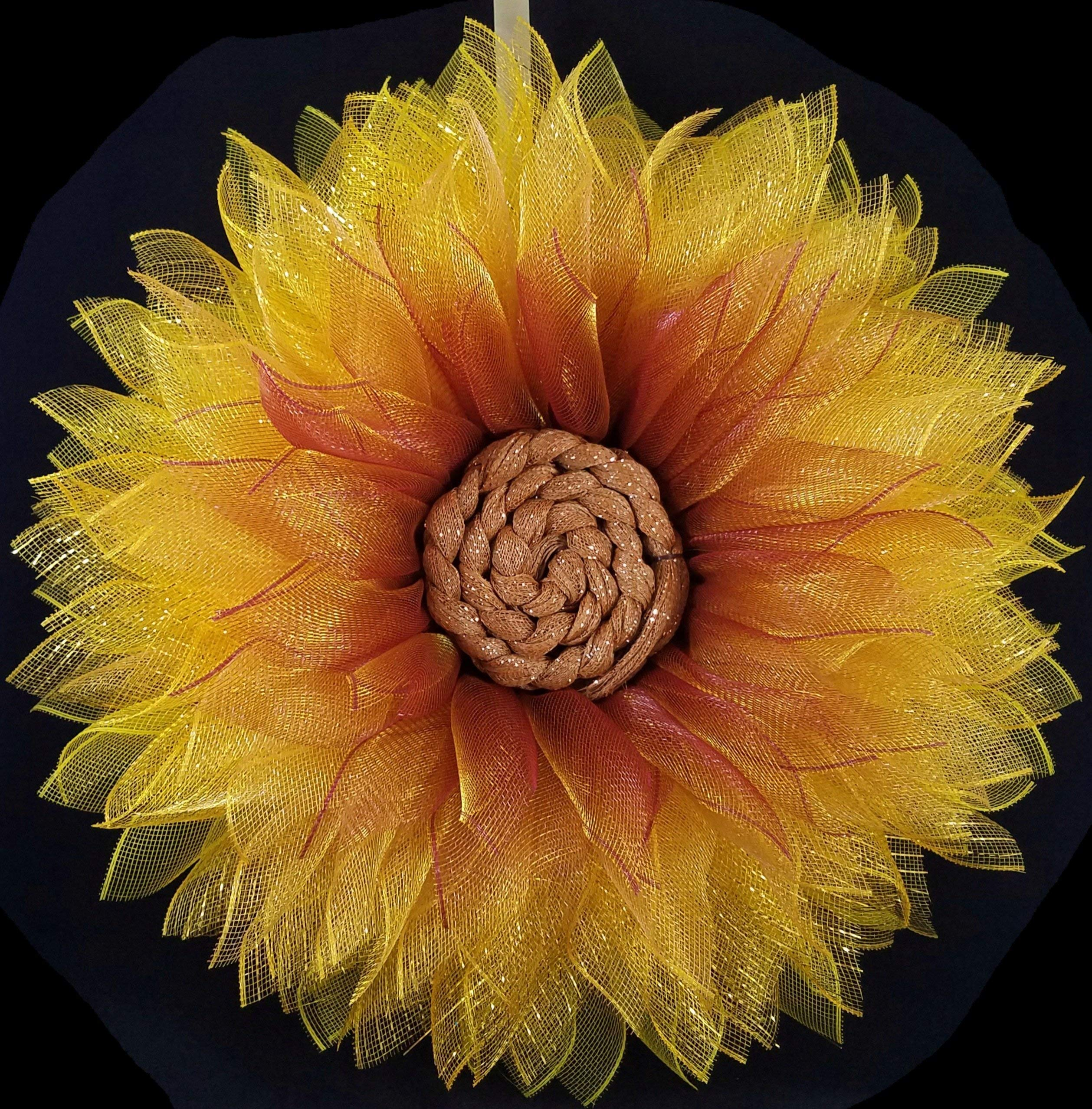 Fall-Wreath-for-Front-Door-Deco-Mesh-SunFlower-Yellow-Gold-Burgundy-Autumn-Home-Wall-Decor-26-inch