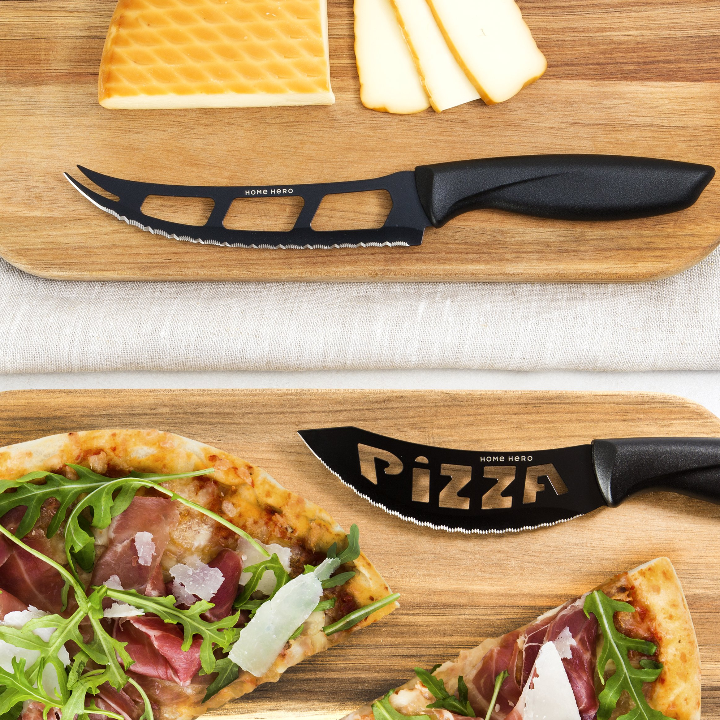 Stainless Steel Knife Set with Block - 13 Kitchen Knives Set Chef Knife Set with Knife Sharpener, 6 Steak Knives, Bonus Peeler Scissors Cheese Pizza Knife & Acrylic Stand - Best Cutlery Set Gift by Home Hero (Image #7)