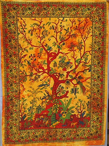 Tree Of Life Indian Wall Hanging Cotton Tapestry Poster Size Orange D cor Throw Yellow Tapestry Posters Dorm Decor Hippie Wall Art Table cloth Fabric Multi-Purpose RDP000042