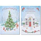 American Greetings Snowy Home and Christmas Tree Christmas Cards with Glitter, 6-Count (5777213)