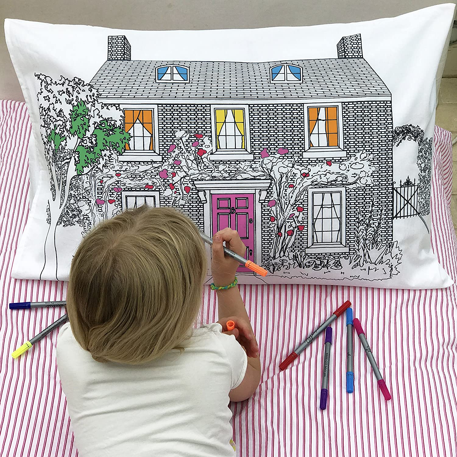 Eatsleepdoodle Doll House Doodle Pillowcase to Color and Design, Personalize The Living Space & Have Fun Decorating Your Home, Kids Coloring Pillowcase with Washable Felt Tip Fabric Markers
