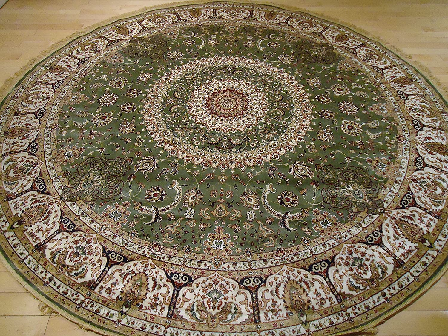 Amazon.com: Stunning Green Silk Rug Persian Area Rugs 8x8 Circle Rugs Foyer  Large Round Rugs Luxury Silk Round Shape 8 Ft Cross Green Rugs: Kitchen U0026  Dining