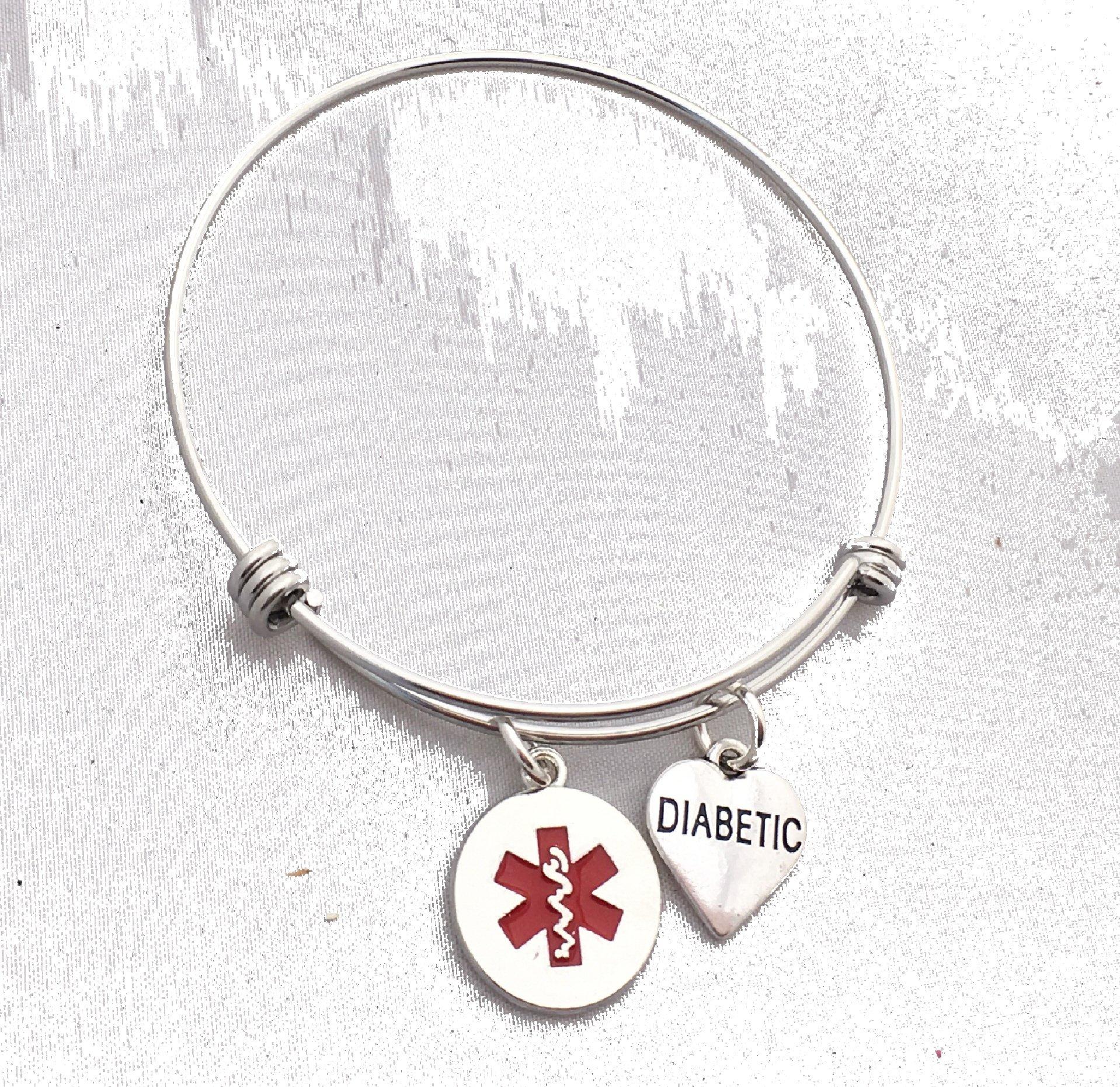 Diabetic Heart Medical Alert Bangle Bracelet, 70mm Steel Bangle emergency health charm bracelet