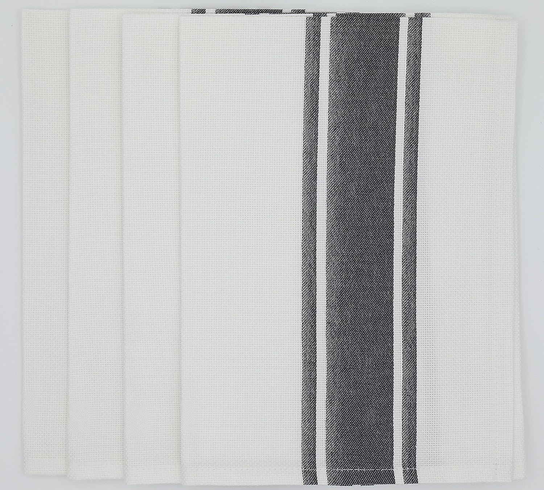garnier-thiebaut NatteホワイトコットンBistroナプキン( Set of 4 )チャコールグレー無煙炭ストライプ   B078HQ4FW4