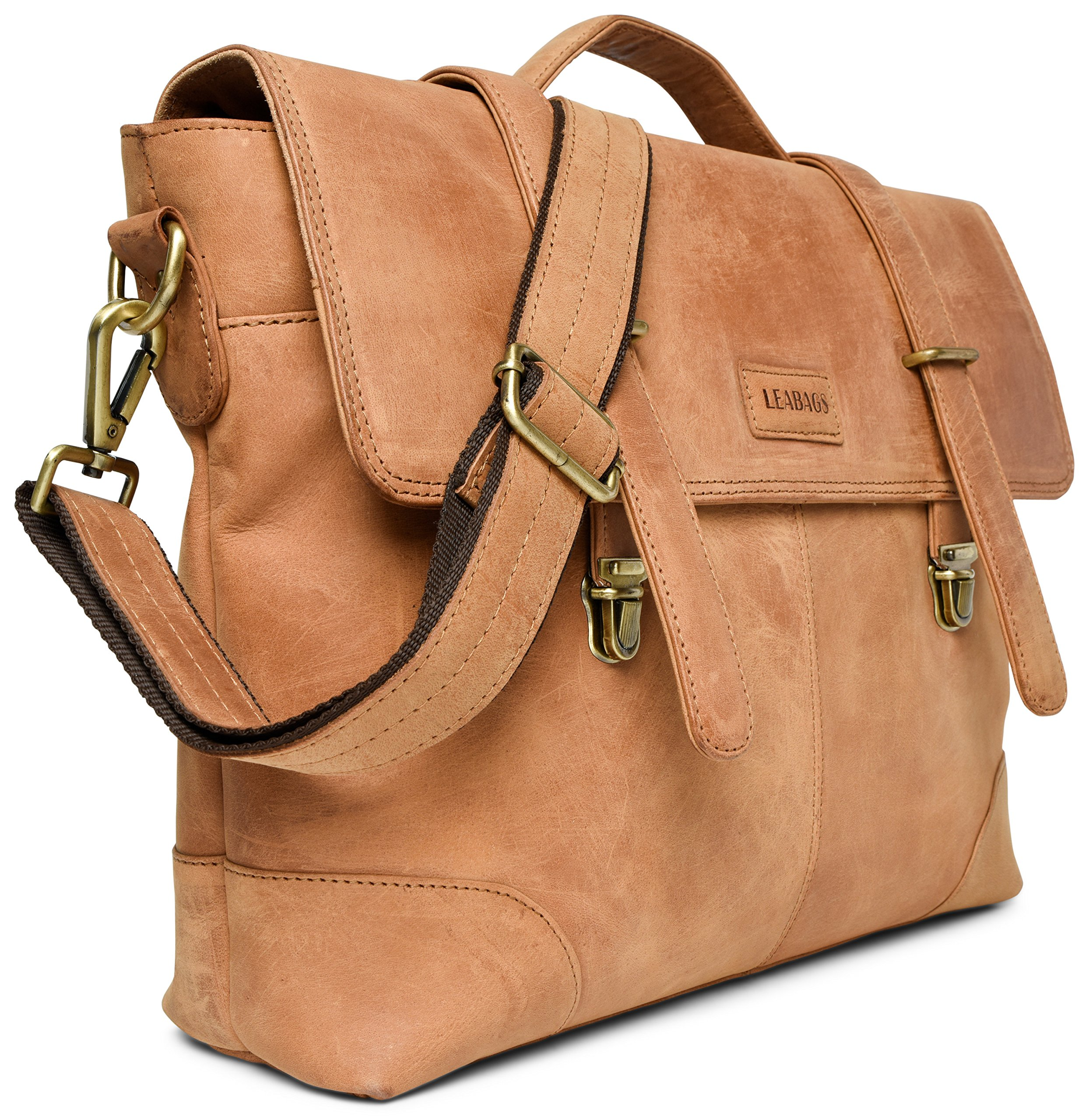 LEABAGS Liverpool genuine buffalo leather briefcase in vintage style - Brown by LEABAGS (Image #3)