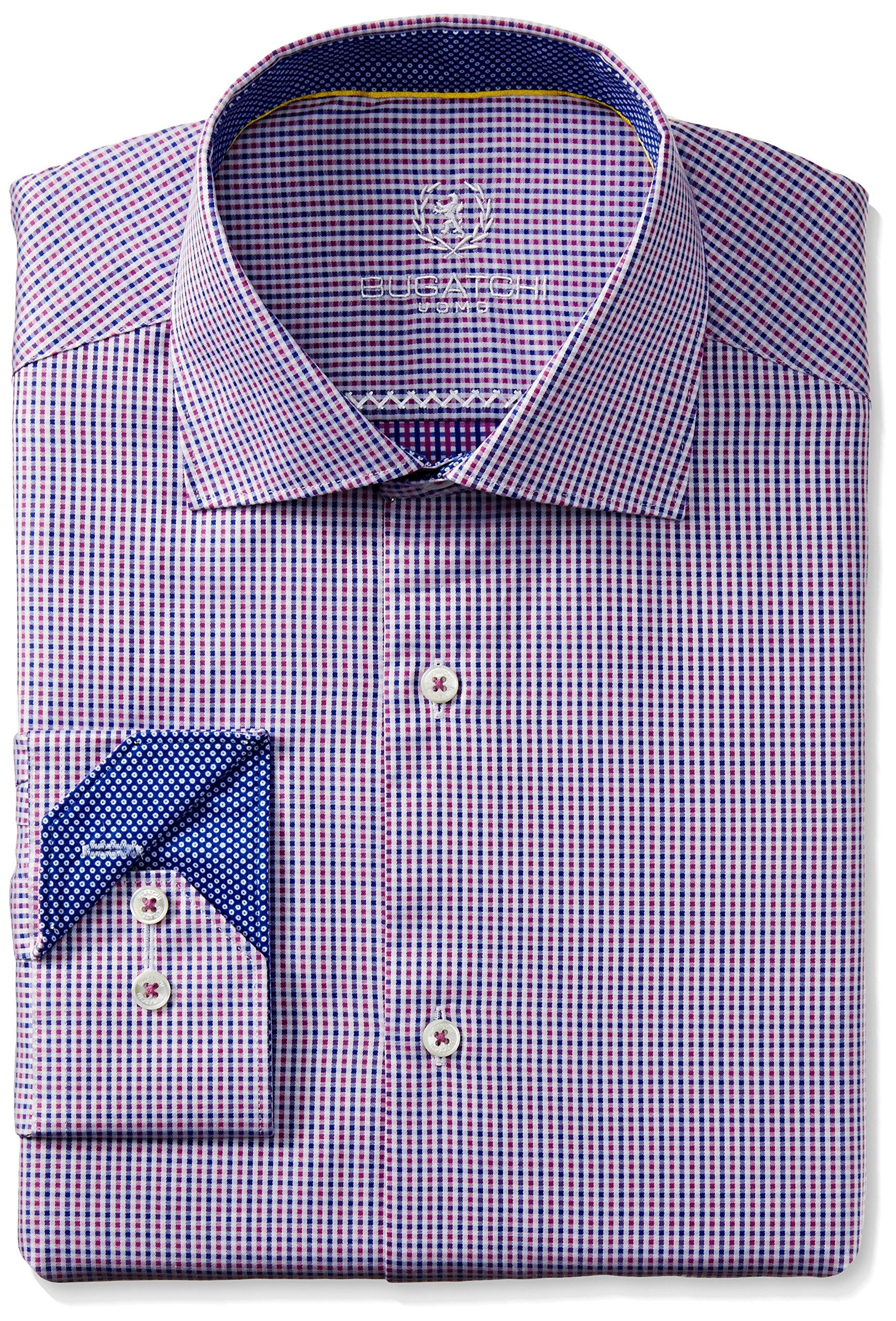Bugatchi Men's Poli Dress Shirt, Pink, 17.5