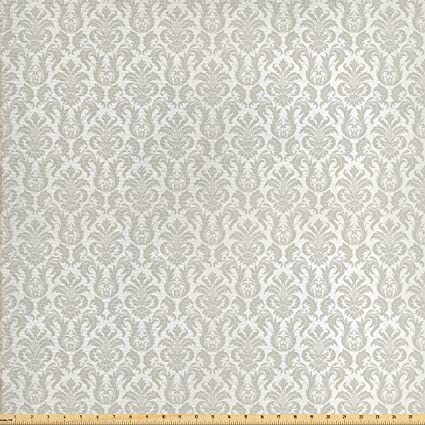 87982e8131 Ambesonne Damask Fabric by The Yard, Abstract Floral Pattern Wedding  Inspired Soft Colored Design Complex