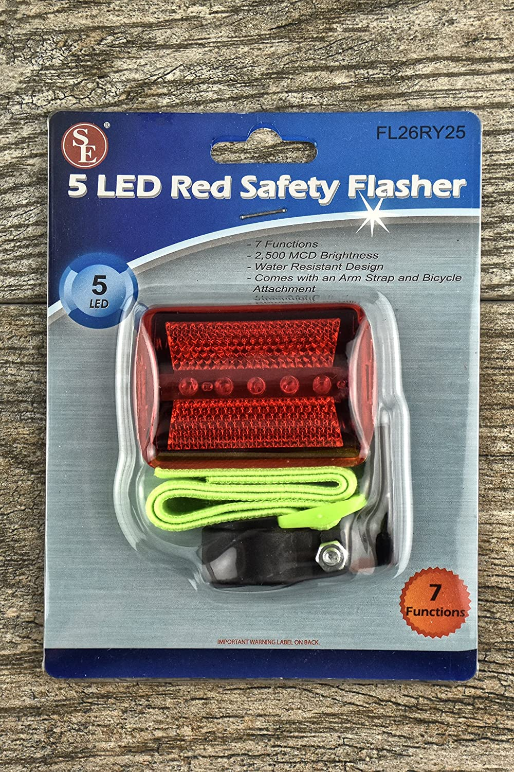 SE FL26YY45 5-LED Yellow Safety Flasher with Bicycle Attachment and Arm Strap Sona Enterprises