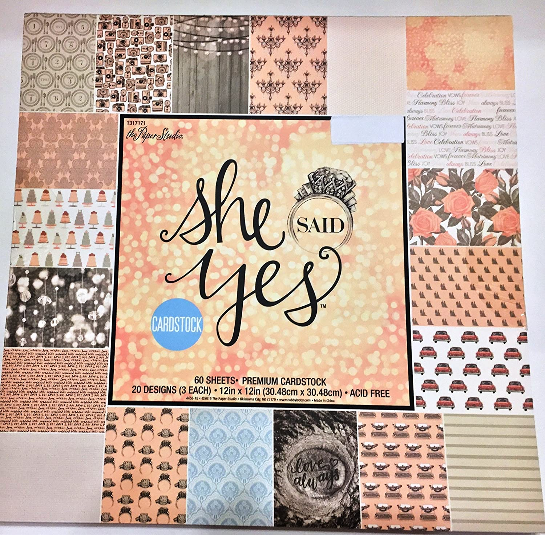 12x12 wedding scrapbook paper - Amazon Com She Said Yes 12x12 Scrapbooking Paper Cardstock Pad Wedding Anniversary Feminine Vintage 60 Sheets