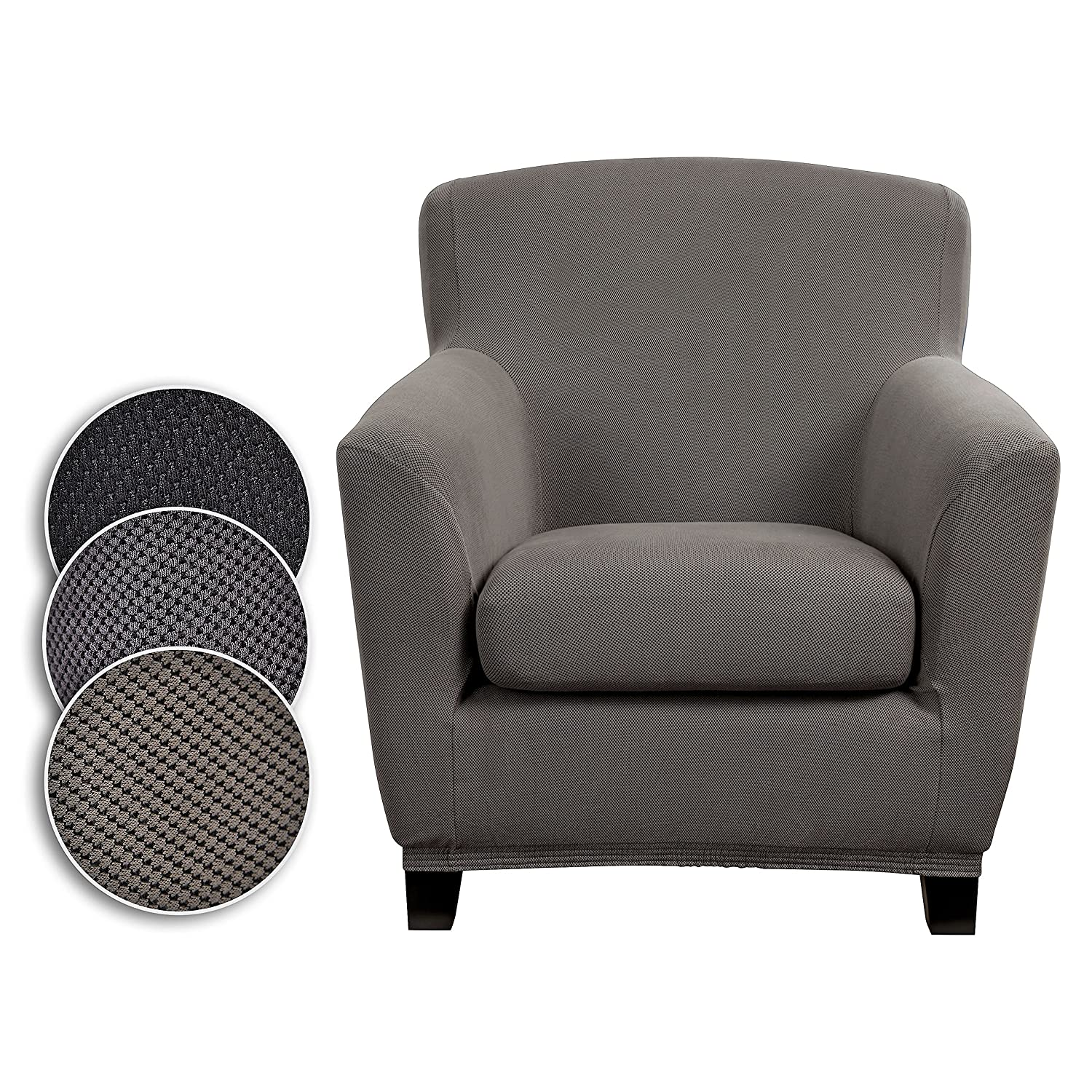 Stretch Elastic Cover black gray for 1 Seater Armchair