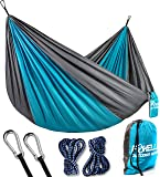 Foxelli Camping Hammock – Lightweight Portable Parachute Nylon - Best for Outdoors Backpacking Hiking Survival Travel Beach & Backyard Fun – With Tree Ropes and Carabiners