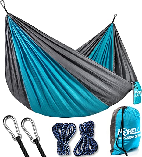 foxelli camping hammock  u2013 lightweight parachute nylon portable hammock with tree ropes and carabiners perfect amazon     foxelli camping hammock   lightweight parachute nylon      rh   amazon