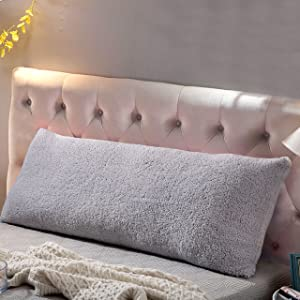 """Reafort Ultra Soft Sherpa Body Pillow Cover/Case with Zipper Closure 21""""x54"""" (Silver Grey, 21""""X54"""")"""