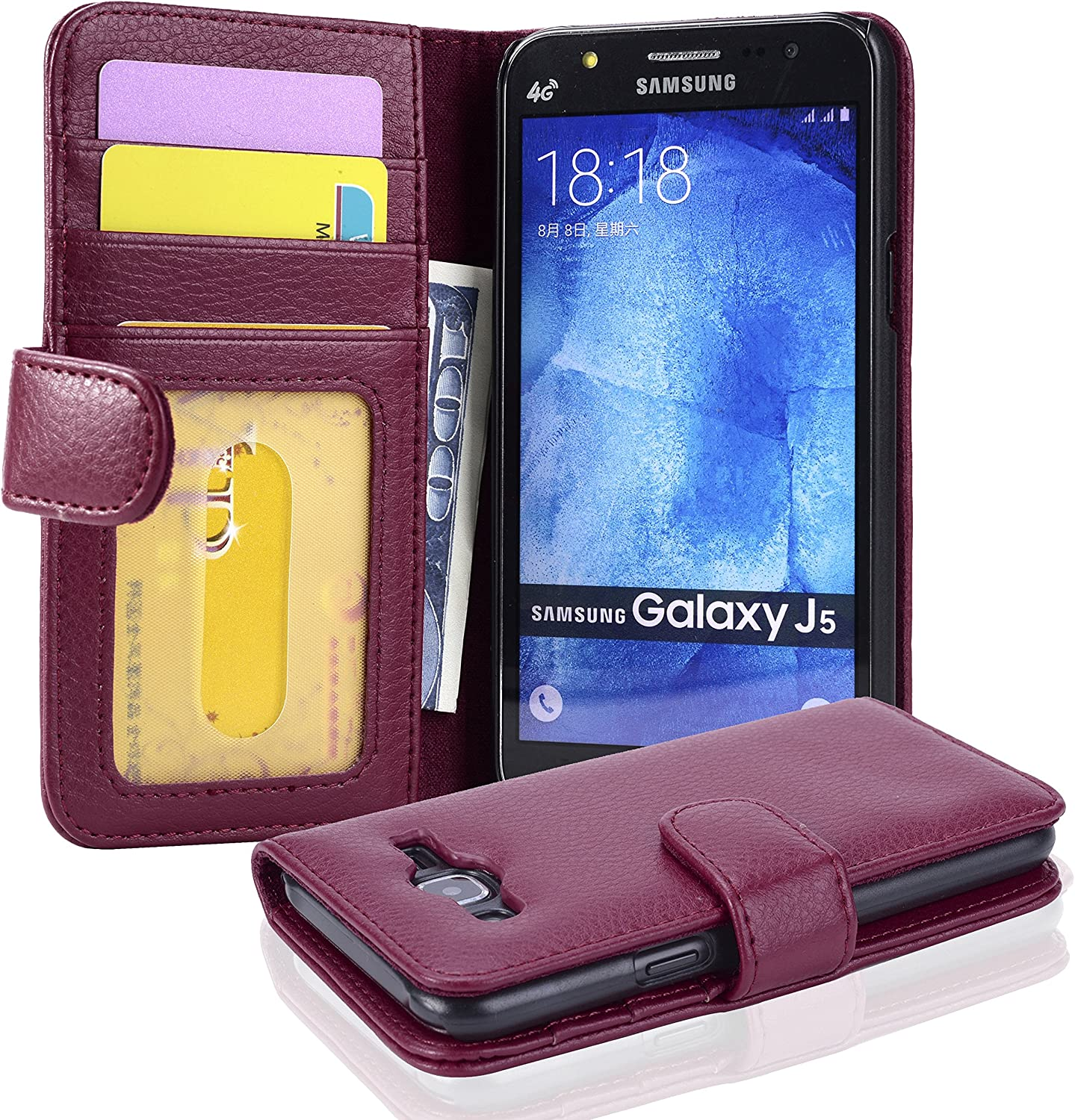 Cadorabo Book Case Compatible with Samsung Galaxy J5 2015 in Bordeaux Purple - with Magnetic Closure and 3 Card Slots - Wallet Etui Cover Pouch PU Leather Flip