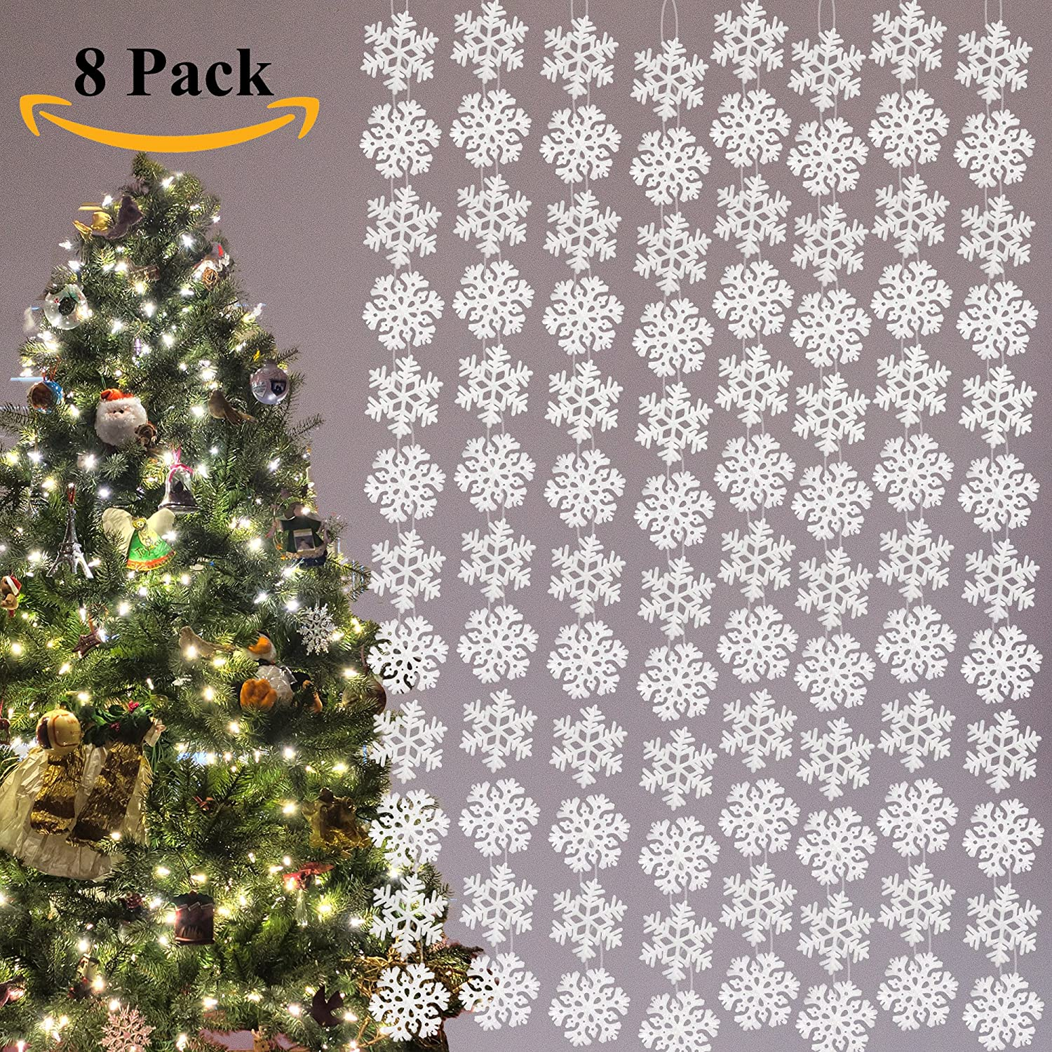 Amazon.com: Joiedomi 8 Pack String Snowflake Christmas Party Winter ...