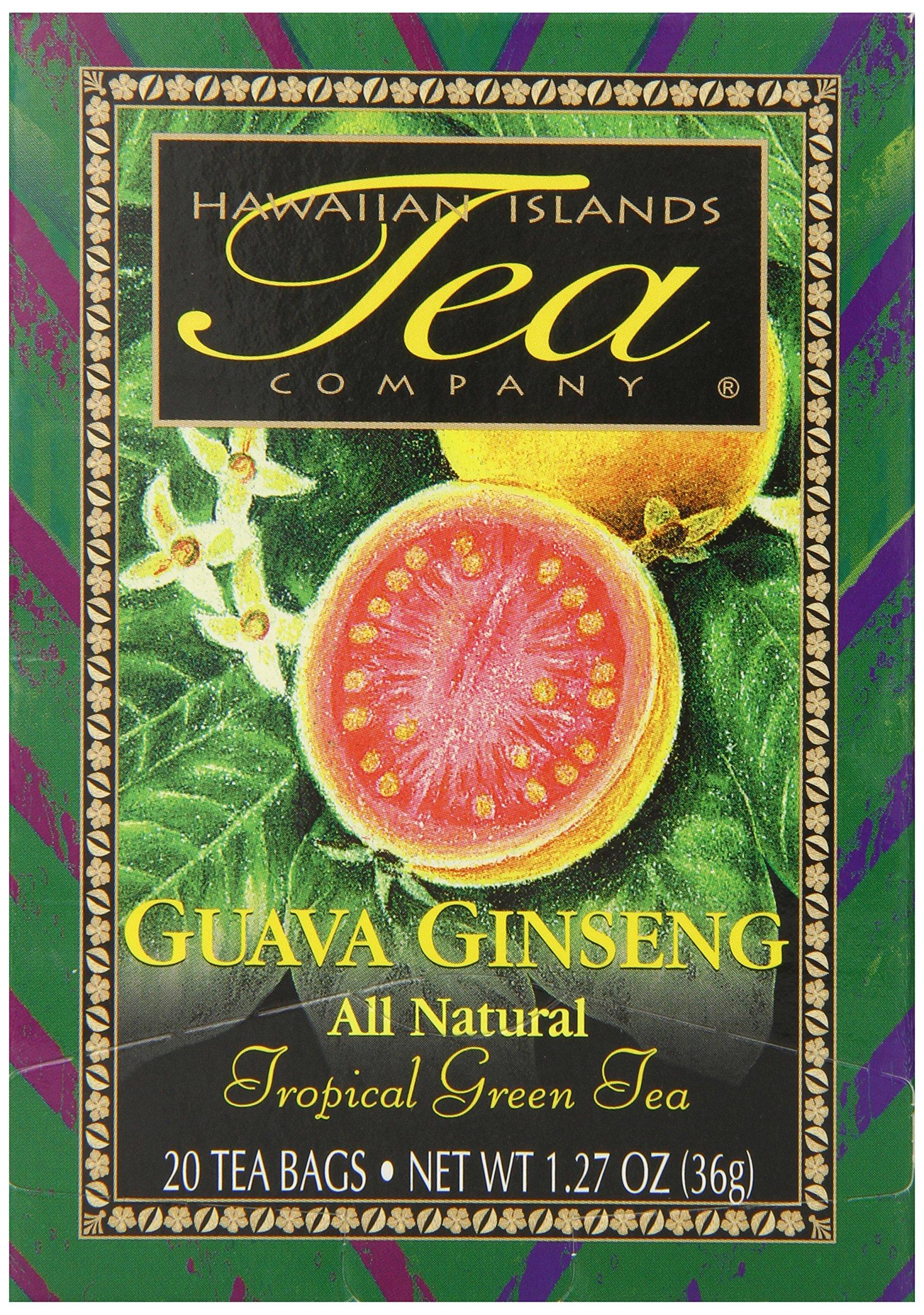 Hawaiian Islands Guava Ginseng Green Tea, 20 Count (Pack of 6)