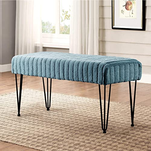 Home Soft Things Serenta Super Mink Faux Fur Ottoman Bench