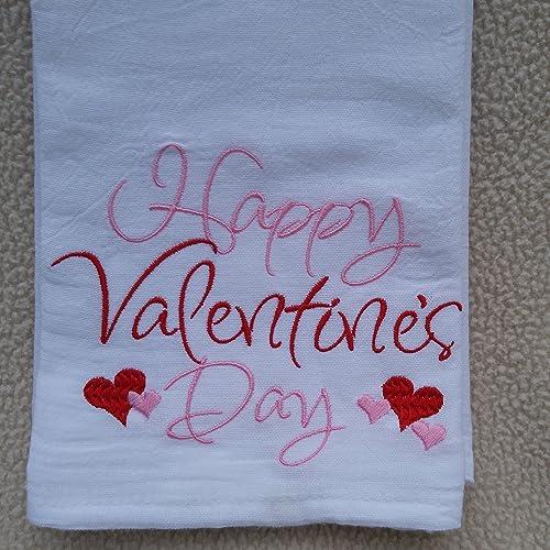 happy valentines day flour sack towel monogrammed tea towel southern sayings monogrammed flour