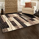 Superior Modern Rockwood Collection Area Rug, 8mm Pile Height with Jute Backing, Textured Geometric Brick Design, Anti-Static, Water-Repellent Rugs - Chocolate, 5' x 8' Rug