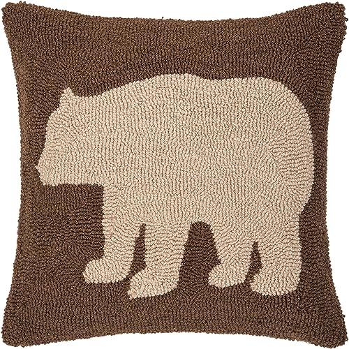 C F Home Bear Hooked Pillow 18 x 18 Bear Brown